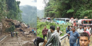 Massive landslide bring commuters at Shillong-Silchar NH 44 to stand still