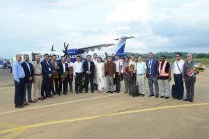 IndiGo flight makes maiden landing at Umroi Airport, passengers feted with Assamese 'Gamocha'