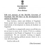 Nagaland CM welcomes Governor's assurance on Art 371 (A)
