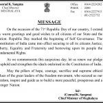 Republic Day Message of the Chief Minister of Meghalaya