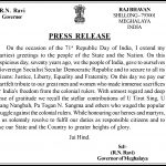 Republic Day Message of the Governor of Meghalaya