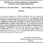 Controller of Examinations Meghalaya Public Service Commission,  Shillong.