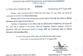 Containment order lifted for Mawlai Mawtawar