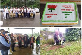 Shillong Sept 17: The Meghalaya BJP conducted various activities on the occasion of 70th Birthday of Prime Minister, Narendra Modi. Cleaning drive and pplantation of trees at Golflinks was carried out besides seeding of fish at Umsohlang river, The tree plantation and cleaning drive was held at Nongkrem as well as all the ddistricts of Garo Hills, Ri-Bhoi and Jaintia Hills District. On the occasion, the BJP ccelebrated Modi's birthday with the cutting of cake at the BJP office by State President,Ernest Mawrie and Health Minister A.L Hek.